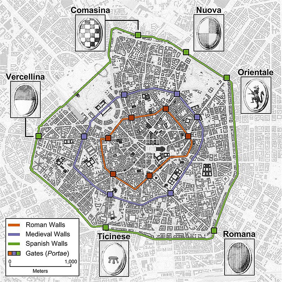 I tre anelli delle mura di Milano