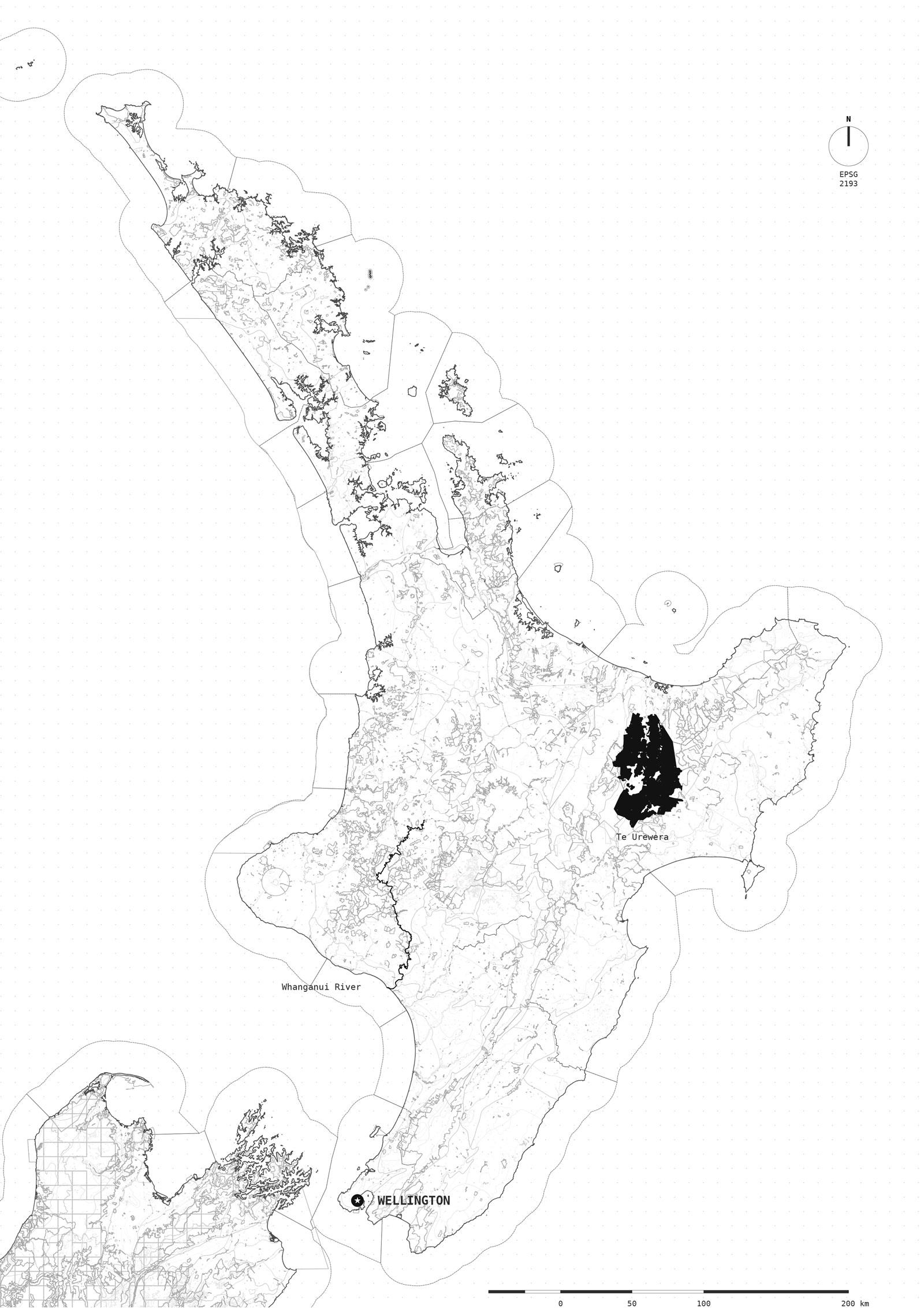 Confini di tutti i sistemi ambientali protetti o soggetti ad accordi multilaterali istituiti dal Dipartimento di Conservazione della Nuova Zelanda nella North Island